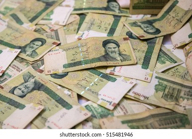 Pile of Iranian Rial banknotes
