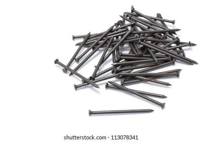 pile of iron nail on white background