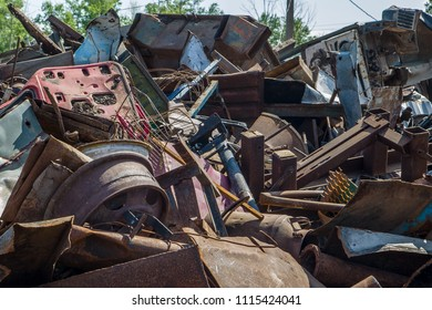 pile of iron trash in the open air