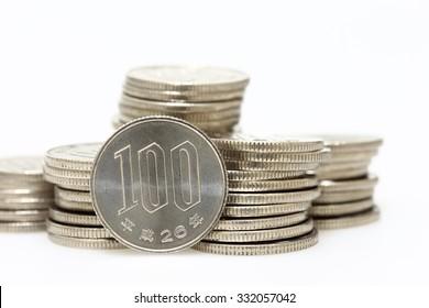 Pile of Japanese coins , 100 Yen