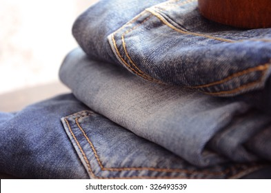 Pile of Jeans Close up