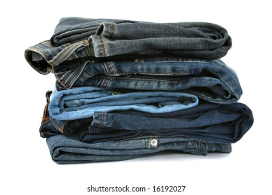 pile of jeans isolated on white background