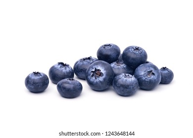 Pile of Juicy Blueberries fruits isolated on white background