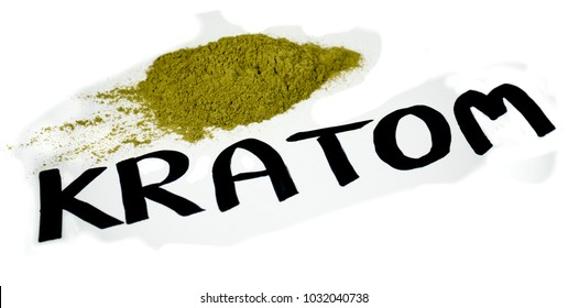 """A pile of kratom over a white background with """"Kratom"""" writen in paint marker."""