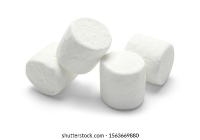 Pile of Large Marshmellows Isolated on White Background.