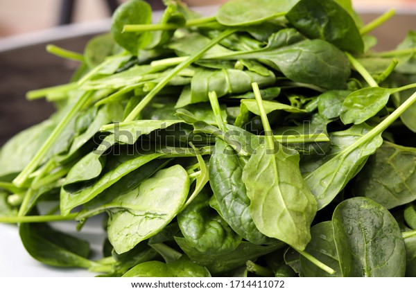 A pile of leafy green spinach