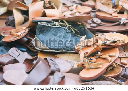 f22d5b29b Pile Leather Shoes Sandals Background Stock Photo (Edit Now ...