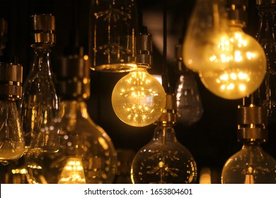 pile of LED light bulbs are decorated on the ceiling