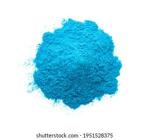 Pile of light blue powder isolated on white, top view. Holi festival celebration