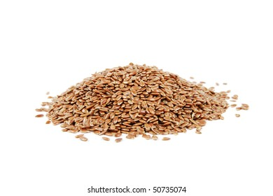 Pile of linseed on a reflective white background