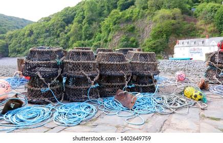 Pile of lobster pots, Clovelly harbour