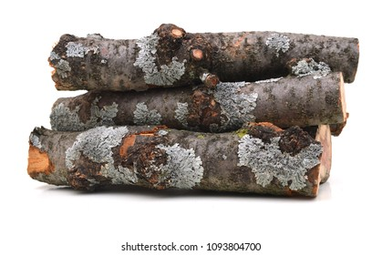 A pile of log fire on white