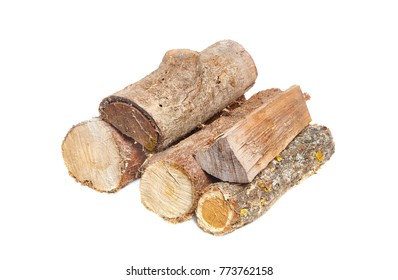 Pile of logs cut for firewood isolated on white