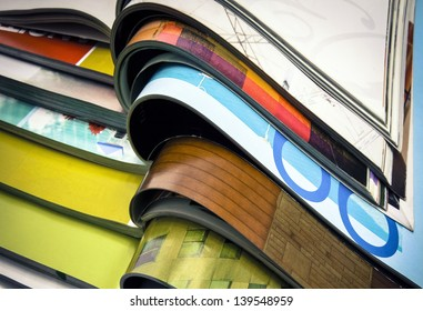 a pile of magazines close up