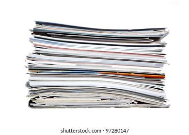 Pile of magazines isolated on white