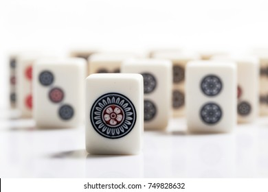 pile of Mahjong on white background