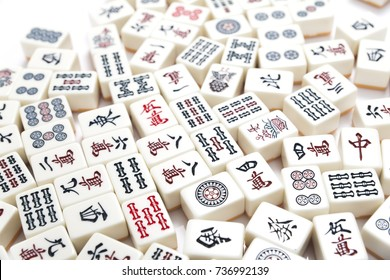 pile of Mahjong on white table