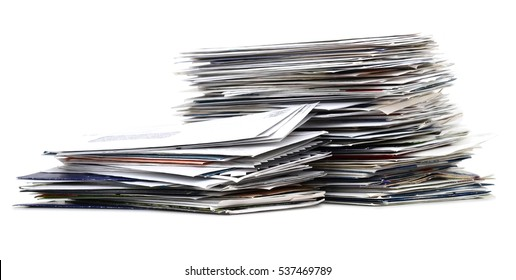 Pile of mail letters and envelopes on white background