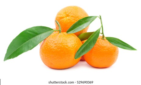 Pile of mandarins with leaf isolated on white background