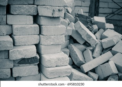 pile of mass aerated concrete light weight building construction materiel