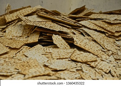 A pile of Matzah (also spelled Matzo) at the old Streits Matzo factory in Manhattan's Lower East Side. Matzah is a traditional jewish food eaten during the holiday Passover.