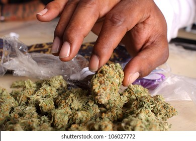 Pile of medical marijuana on a table.