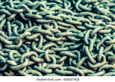 Pile of a metal chain close up. Background.