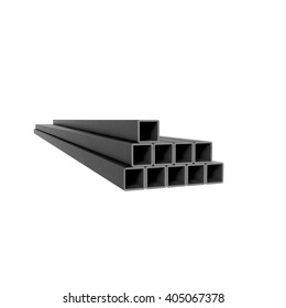 Pile of metal square beams at white background