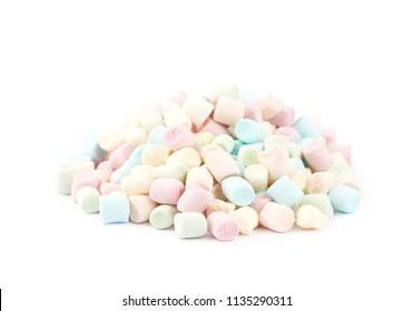 Pile of mini marshmallows isolated