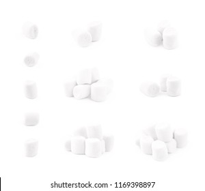 Pile of mini marshmallows isolated over the white background, set of multiple different foreshortenings