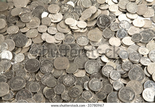 Pile of mixed australian silver coins currency