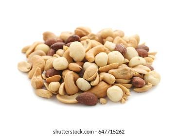 Pile of mixed nuts isolated on white background.