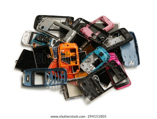 Pile of mobile phone scrap isolated on white background
