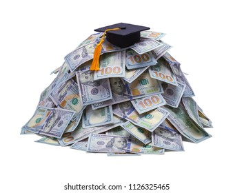 Pile of Money with Gradutation Hat Isolated on White Background.