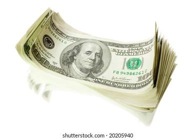 pile of money isolated on white