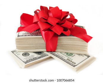 Pile of money with red bow isolated on white background