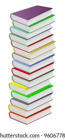 Pile of multicolored books on a white background. EPS version is available as ID 93086875.