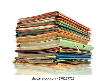 Pile of multicolored office folders