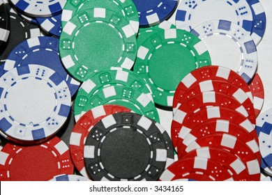 Pile of Multi-Colored Poker Chips