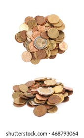 Pile of multiple euro coins isolated over the white background, set of two different foreshortenings