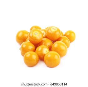 Pile of multiple physalis fruit berries isolated over the white background