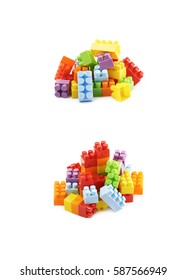 Pile of multiple plastic construction toy bricks isolated over the white background, set of two different foreshortenings