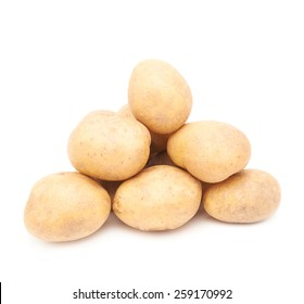 Pile of multiple potatoes isolated over the white background