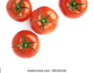 Pile of multiple ripe red tomatoes isolated over the white as a copyspace background composition