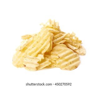 Pile of multiple seasoned potato chips crisps, composition isolated over the white background