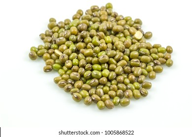 Pile of mung beans, green beans isolated on white background,