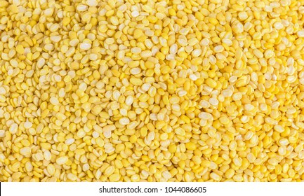 A pile mung dal or moong dal A lot of with copy space for text. Concept food for healthy. Mung dahl dried food ingredient.