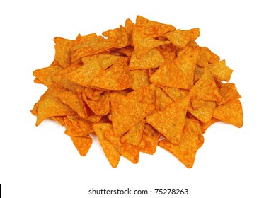 Pile of Nacho Cheese Chips Isolated on a White Background