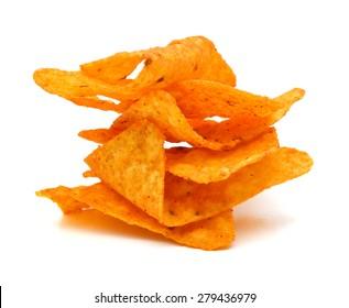 Pile of nachos on a white background