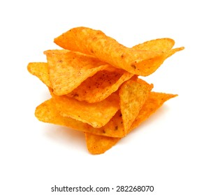 Pile of nachos on a white background